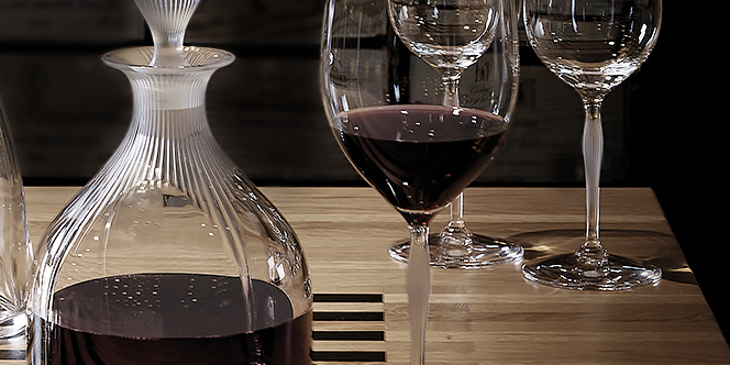 pristine stemware and decanter with red wine