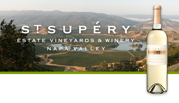 St. Supéry Estate Vineyards & Winery text logo over a sweeping view of Dollarhide Estate Vineyard at daybreak with a bottle of St. Supéry Dollarhide Estate Vineyard Sauvignon Blanc